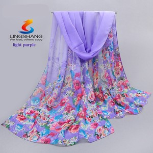 Lingshang new small flower print fashion scarf women elegant party chiffon shawl beautifu gift scarves and shawls