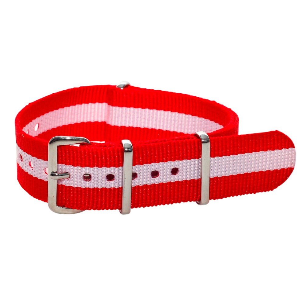 NATO G10 Nylon Premium Quality Replacement Watch Band Strap - 22mm / Red White Stripe - FITS ALL BRAND WATCHES