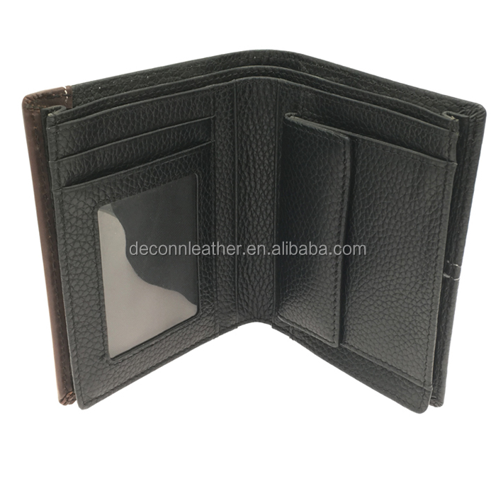 Popular slim men vertical flap leather coin pocket wallet