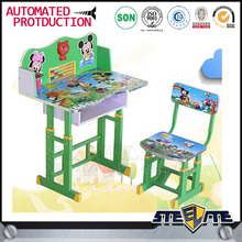 Cheap price PB wood lovely home furniture kids cartoon study table and chair set
