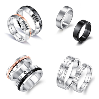 972baf3b25 Online shop top seller couple rings stainless steel gear ring with zircon  for valentine's day