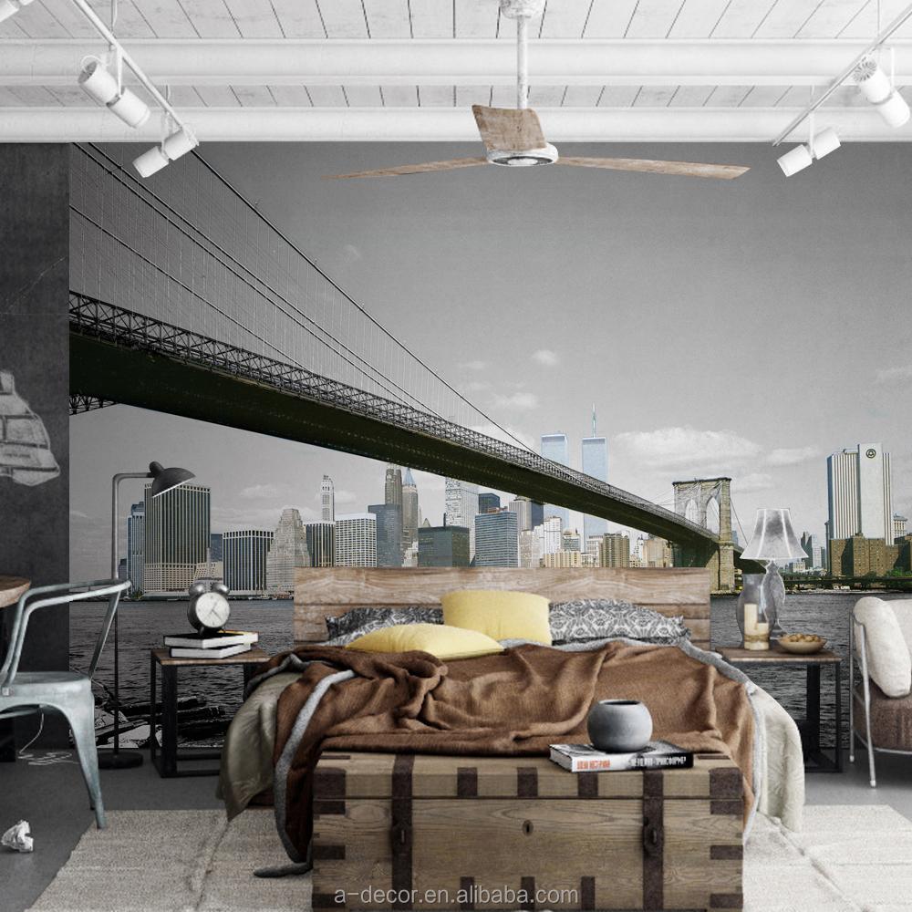 3d city sky lijn ontwerp van behang new york brug ontwerp van ...