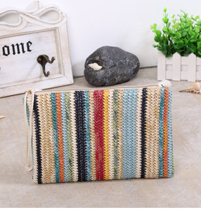 alibaba china online shopping site wholesale striped straw bag weave bali rattan coin purse