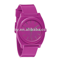 time teller p plastic shocking pink watch flat band watch