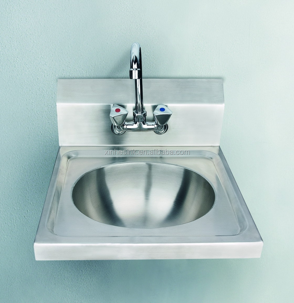 - Stainless Steel Commercial Hand Wash Sink With Backsplash,Wall