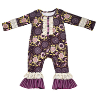 Wholesale Newborn Baby Clothes Purple Floral Baby Lace Romper One Piece Jumpsuit