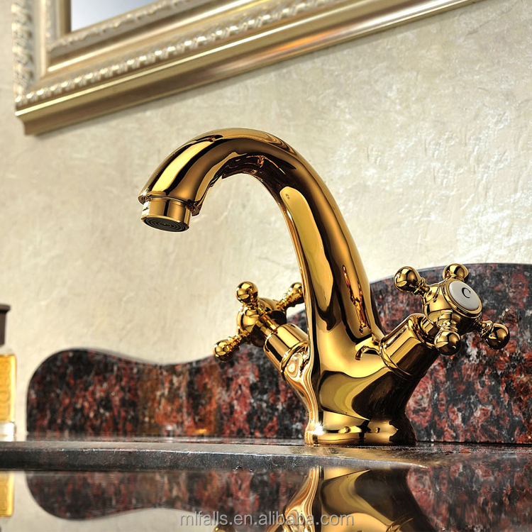 Bathroom sanitary fittings dual handles basin Ti PVD gold color tapsBathroom Sanitary Fittings Dual Handles Basin Ti pvd Gold Color  . Gold Bathroom Taps Ebay. Home Design Ideas