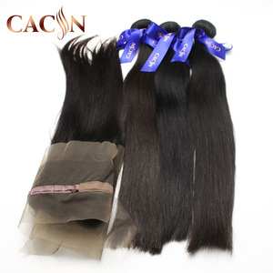 New arrivals 2018 baby Raw virgin straight 360 frontal lace closure and bundles,The 100%Original Brazilian Remy Human Hair