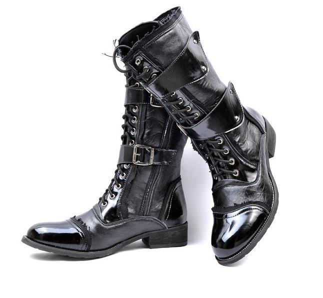 4b738484dcf5 Get Quotations · 2015 new men s punk leather knee-high riding boots han  edition locomotive boots terminator forces