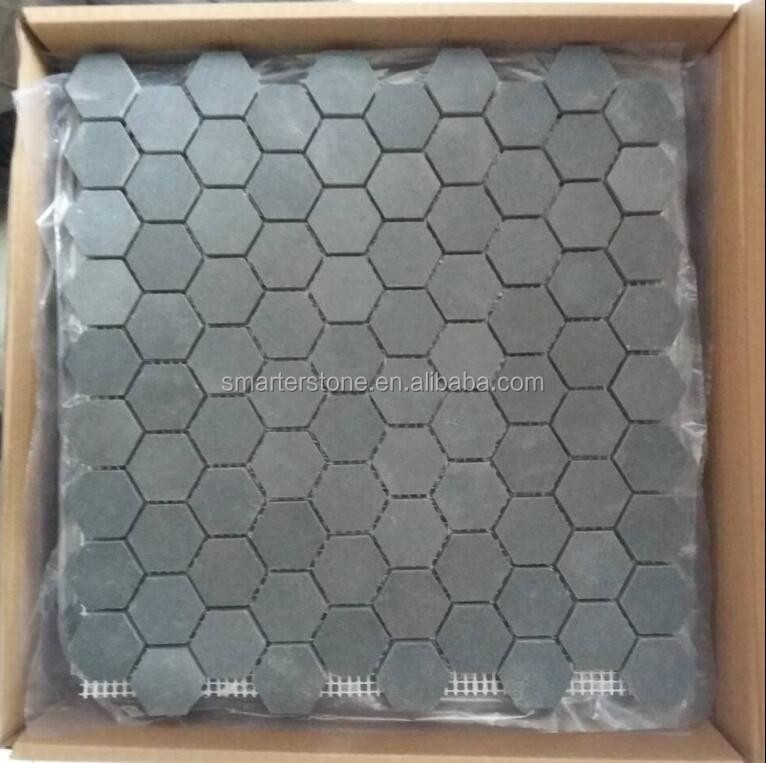 Hexagonal Stone Mosaic Bluestone Hexagonal Grey Mosaic Tiles