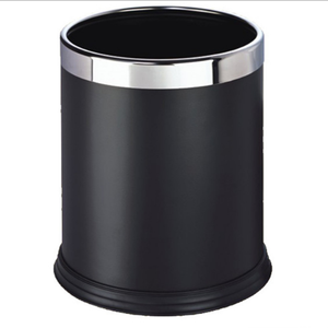 Powder-Coated hotel and office room iron trash can without lip