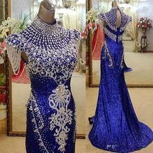 SJ2556 royal blue high neck crystal stones sequin muslim evening dress