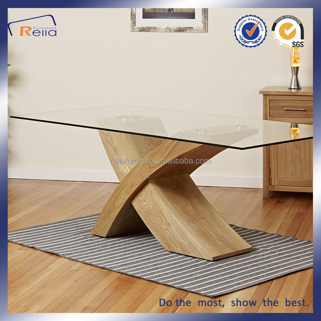 Wooden base dining table with glass top designs