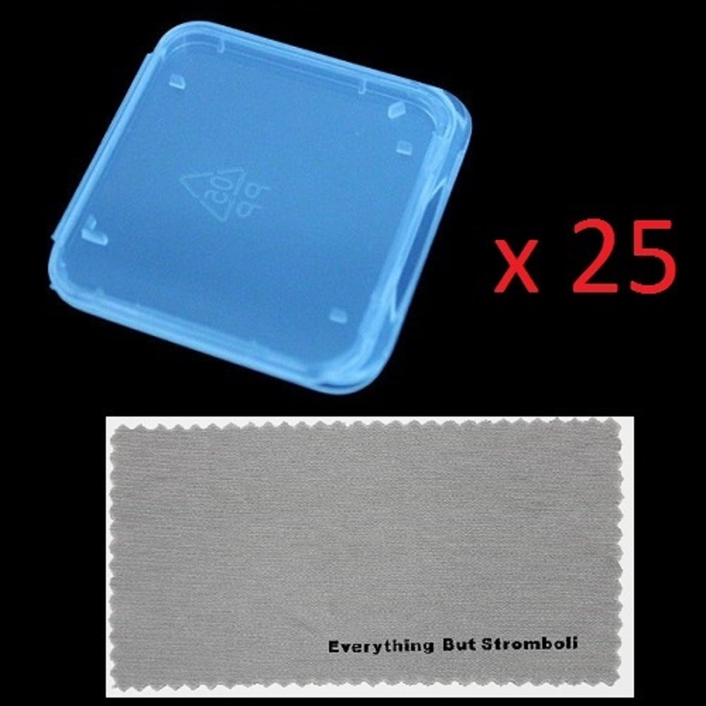 "25 pcs SD MMC / SDHC / SDXC / PRO DUO Memory Card Plastic Storage Jewel Case (memory card not included) (1 3/8"" x 1 3/8"" x 1/4"") With Everything But Stromboli MicroFiber Contact Cleaning Cloth"