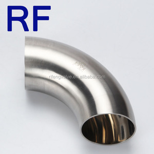 RF SS304/316L Sanitary Stainless Steel Pipe Fitting Weld 90 Degree Elbow