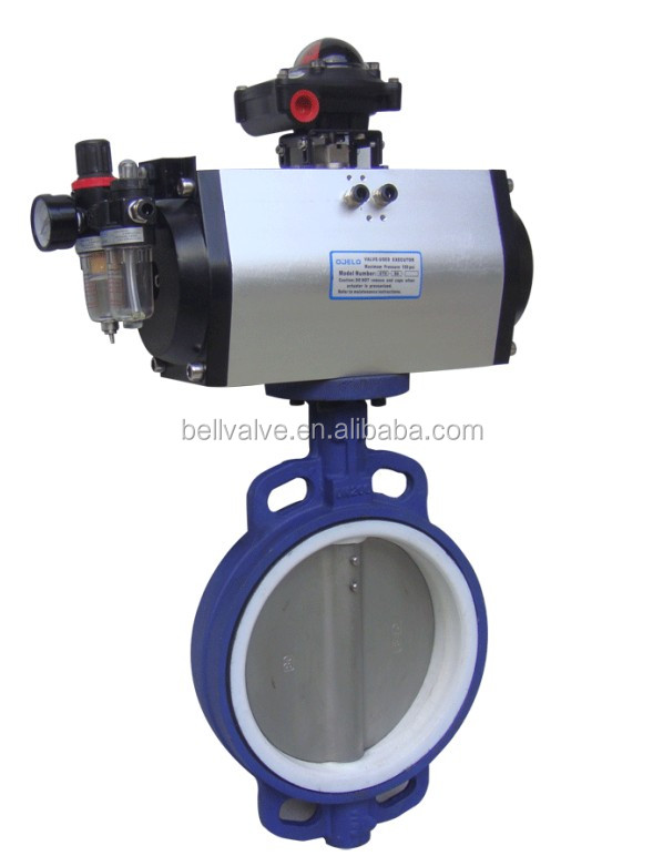 Pneumatic flanged full-lining steam flow control butterfly valve