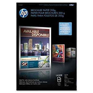 HP Brochure/Flyer Paper - For Laser Print - Letter - 8.50quot; x 11quot; - 52 lb - Matte, Ultra Smooth - 112 Brightness - 100 / Pack - White