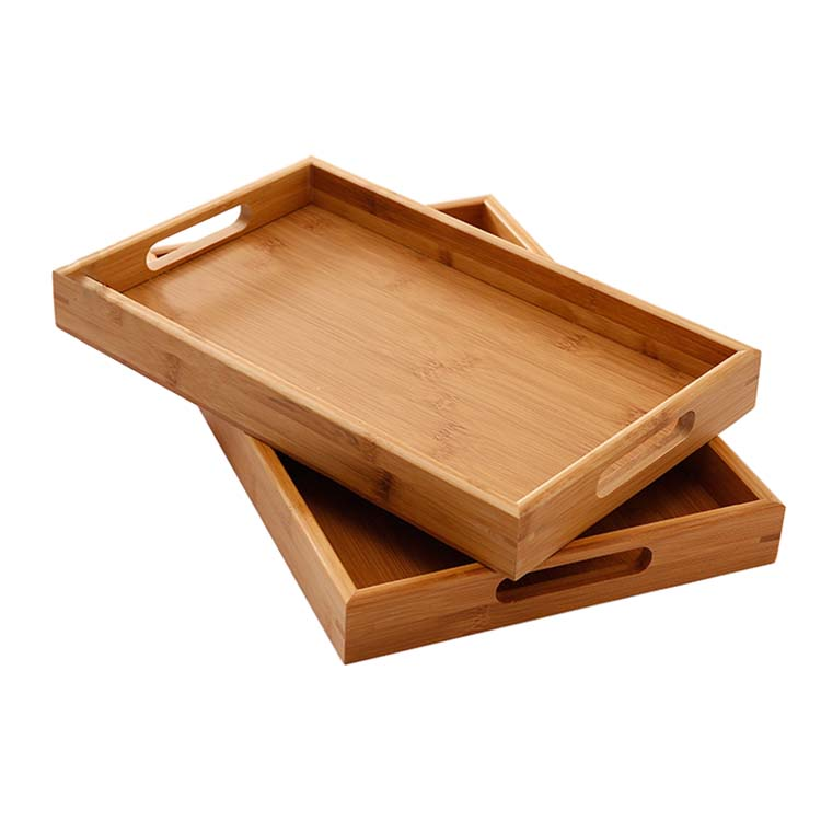 Healthy bamboo tray serving restaurant breakfast tray bed , hotel bamboo and wooden food serving tray with handle