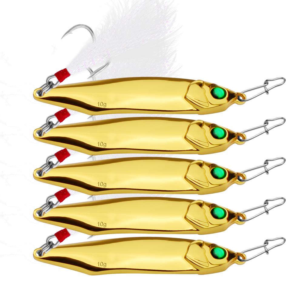 China Spinnerbait Wholesale Alibaba Spoon Fishing Lure Spinner Bait Metal 10 Pcs Plus Box