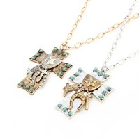 New Style Jesus Cross Turquoise Necklaces