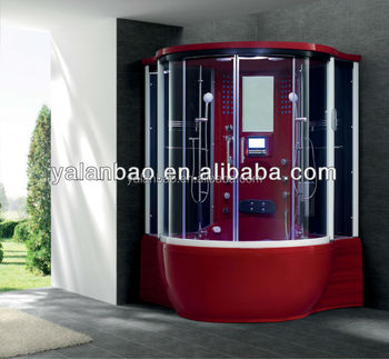 ABS Red Steam Sauna Shower With Spa Tub With TV/MP3 Shower Steam Room