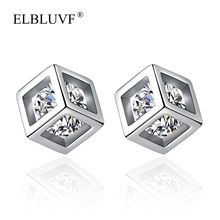 ELBLUVF Copper Alloy Zircon Jewelry S925 Silver Plated Three-dimensional Square Earrings Wholesale For Women