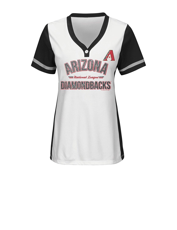MLB Arizona Diamondbacks Women's Team Name Rugged Competitor Pull Over Color Block Jersey, X-Large, White/Black