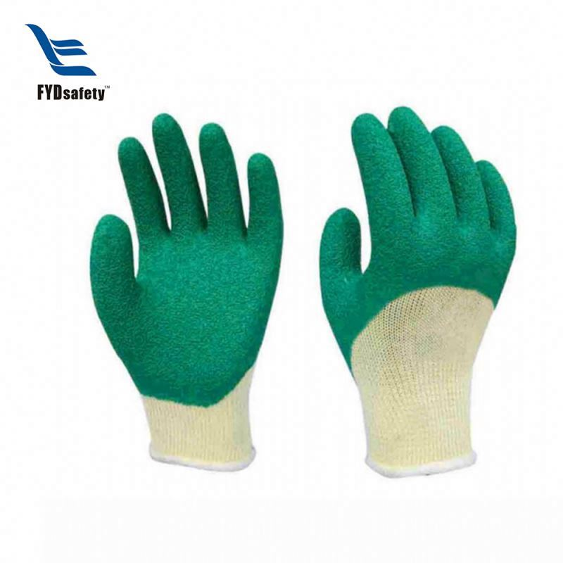 Mens latex coated string knit safety working gloves good price