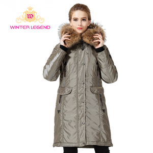 women's long coat big Raccoon fur hooded winter coat women