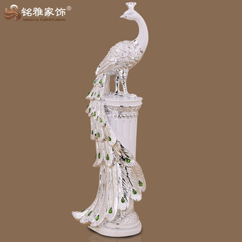 High quality home interior decoration bird sculpture resin life size gold peacock statues