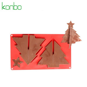 3D Christmas tree custom silicone chocolate bar mould China toblerone bar mold tools biscuit cookie tools