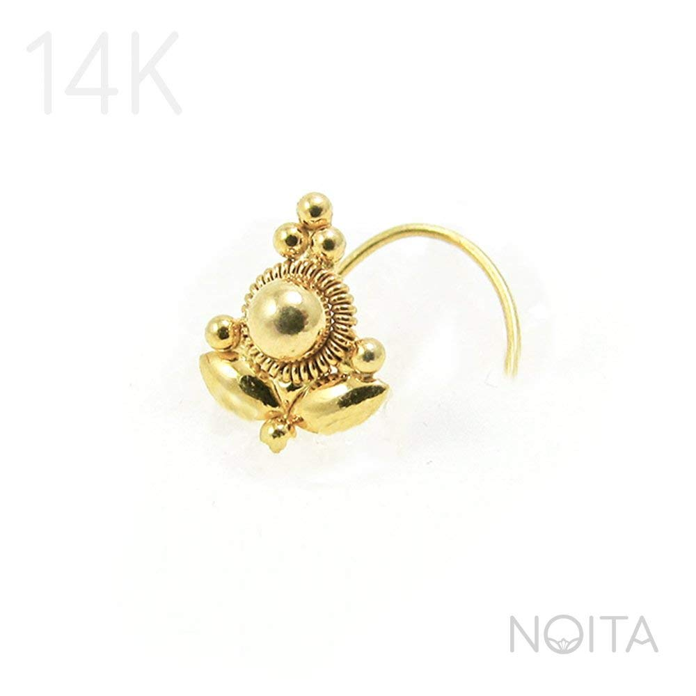 Indian Nose Ring Stud, Unique 14K Yellow OR Rose Gold Lotus Tribal Nose Piercing, Fits Tragus Earring, Cartilage & Helix, 18g, 20g, 24g, Handmade Jewelry