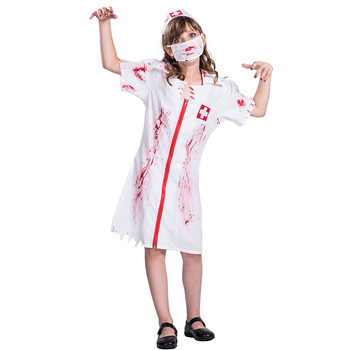 scary halloween kids children girls bloody nurse zombie cosplay carnival party costumes