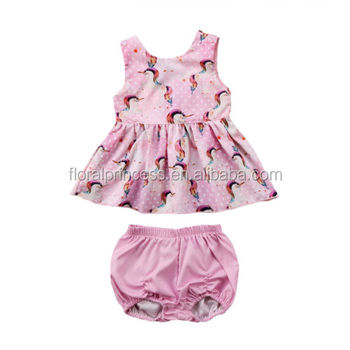 e272aecc9215 2018 Cute Baby Girls Unicorn Clothing Set Newborn Kids Tops Dress Shorts  2Pcs Outfits Set Clothes