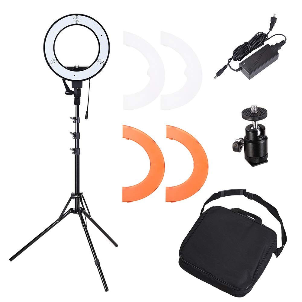 "AW Dimmable 14"" 35W 5500K LED Ring Light with Tripod Ball Head Color Filter Photo Video Lighting Stand Kit"