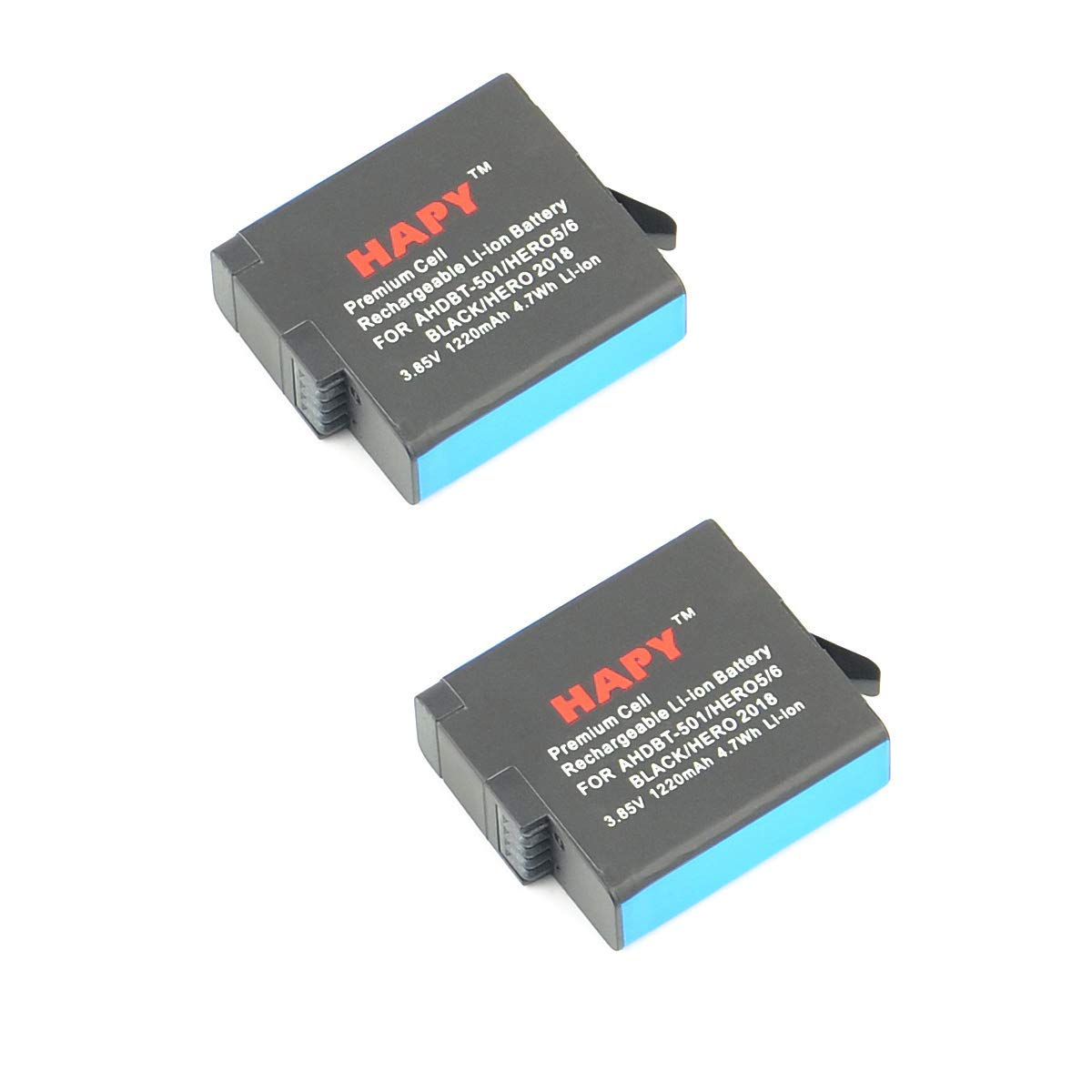 HAPY 2 Pack Rechargeable Battery 1220mAh for Gopro Hero 6,HERO6 Black,Hero 5, HERO5 Black,Hero (2018),GoPro AHDBT-501,AABAT-001 Battery
