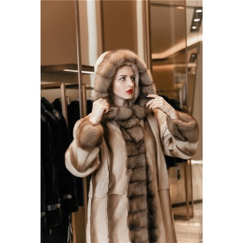 Fashion women unique collar warm natural fur coat mink