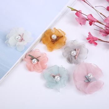 Semi-finished materials diy headdress accessories cloth costume creative accessories Chiffon flower brooch without pin