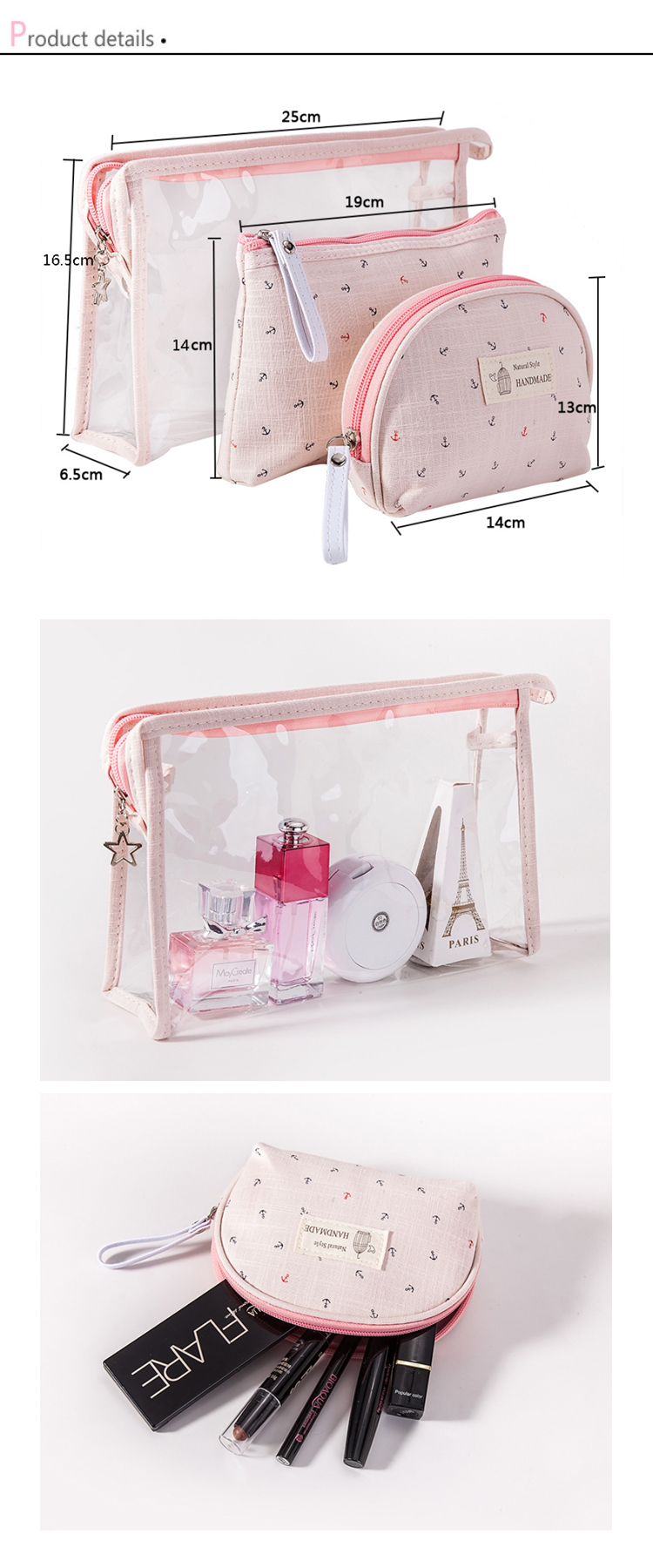 Osgoodway2 Fashion Transparent PVC Cosmetic Accessories Bag Sets Wholesale Make up Travel Bag