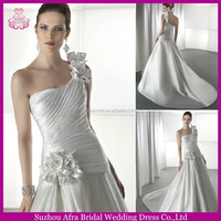 SD994 one shoulder civil A line satin wedding dress pattern simple but elegant wedding dresses