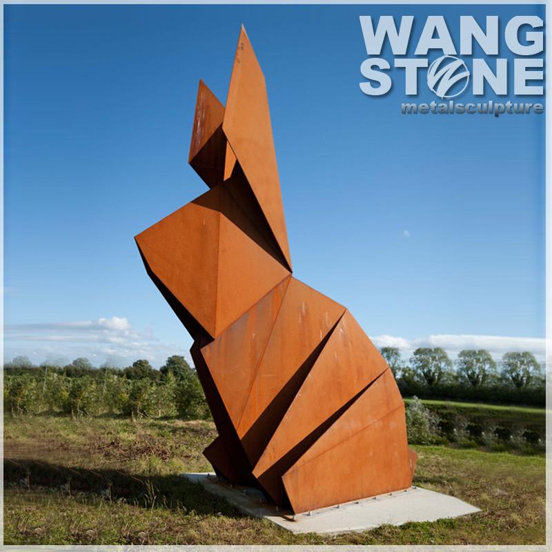 jardn animales decoracin abstracta escultura de conejo de metal de acero corten