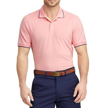 Men's Cotton and Spandex Performance Pique Polo Golf Shirts For Men Trendy Golf Clothes Short Sleeve Pink Polo Shirt