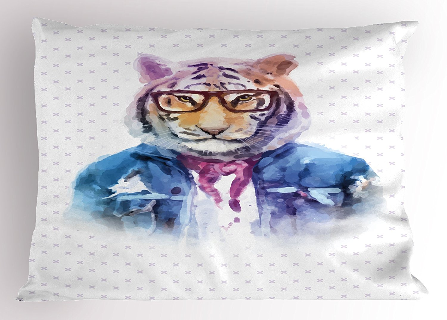 Lunarable Quirky Pillow Sham, Intellectual Tiger with Scarf Torn Denim Jacket Glasses Hipster Watercolor Artwork, Decorative Standard King Size Printed Pillowcase, 36 X 20 Inches, Multicolor