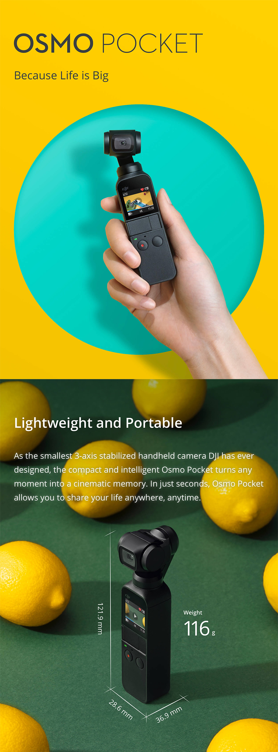 DJI Osmo Pocket Smallest 3-Axis Handheld Gimbal Stabilizer FPV 1/2.3 Sensor Camera 4K 60fps Video 12 MP 140-min Battery Life