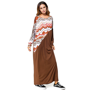 Zakiyyah 5427 Model Abaya in Saudi with Wave Pattern Kaftan Abaya for Muslim Women Lady Elegant Long Dress