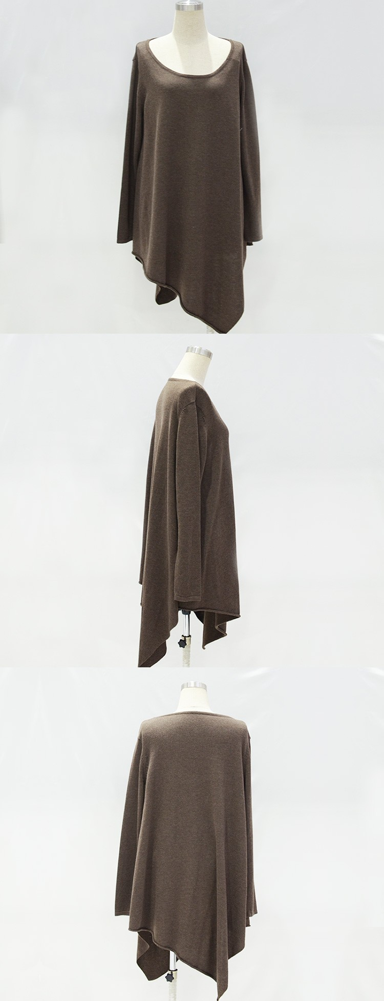 YEEL wholesale products classic flight knitting Anti-Pilling brown wool poncho