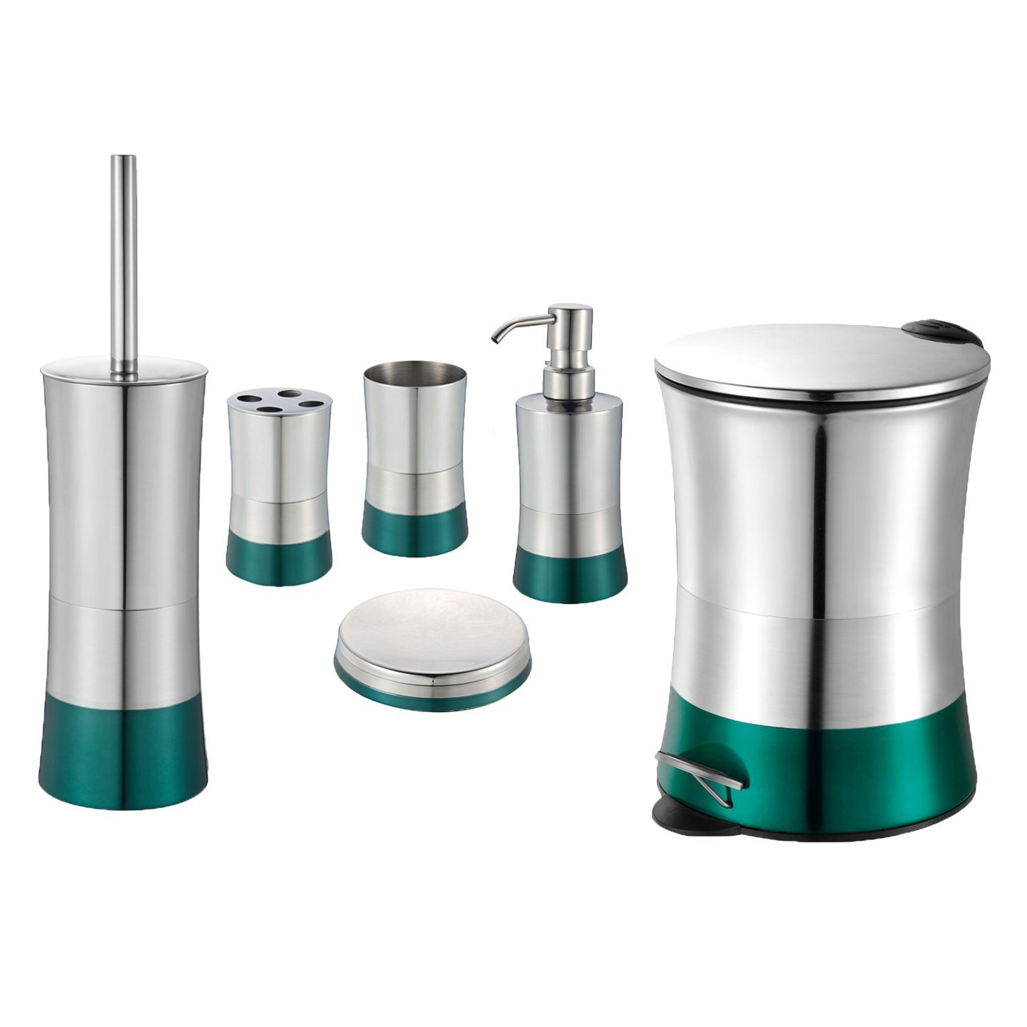 Merveilleux Teal 6 Piece Bathroom Accessory Set: Stainless Steel, Trash Bin, Toilet  Brush, Toothbrush Holder, Tumbler, Soap Dish And Dispenser (6 Piece Set  With Soft ...