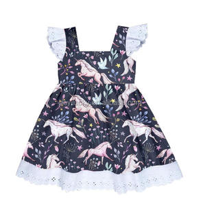 cute unicorn print dress for kids new style girls summer stylish frocks with lace
