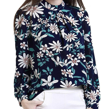 2019 New Arrival Women's Floral Fall Long Sleeve Loose Casual Tunic Tops plus size Women clothing