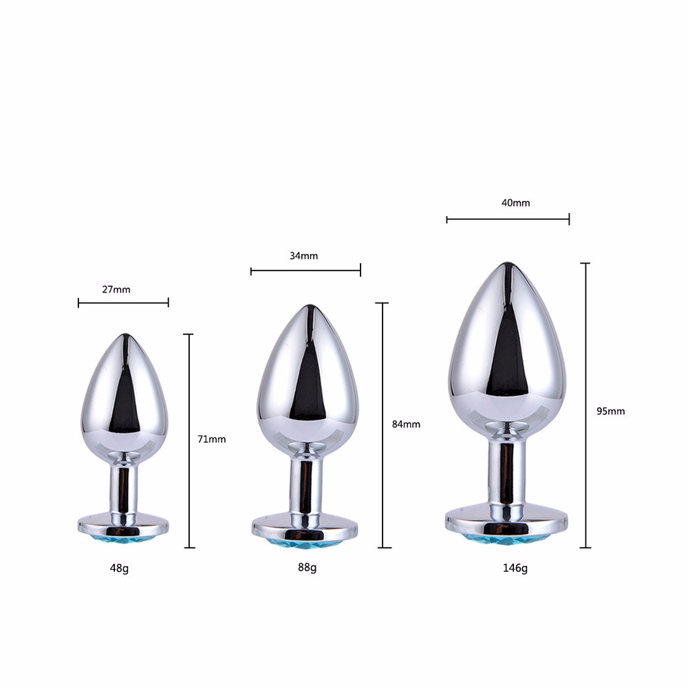 Stainless steel diamond anal sex toys anal plug vagina butt plug